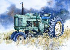 John Deere 50 Tractor print of Original Painting by HeartsEase2, $12.00