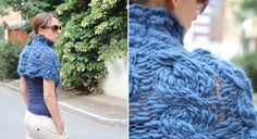 Close Cables Cowl - thick & thin yarn and two different needle sizes makes this cowl really cool wearing!