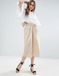 ASOS Beige Midi Skirt Button Through