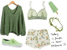 """""""..pastel green.."""" by beautifulnoice ❤ liked on Polyvore"""