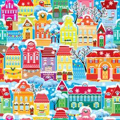 Seamless Pattern with Decorative Colorful Houses   #GraphicRiver         Seamless pattern with decorative colorful houses in winter time Christmas and New Year holidays City endless background. This image is a vector illustration and can be scaled to any size without loss of resolution. All parts of the image are editable. EPS file included.     Created: 15October13 GraphicsFilesIncluded: VectorEPS Layered: No MinimumAdobeCSVersion: CS Tags: balcony #christmas #city #design #element #fabric…