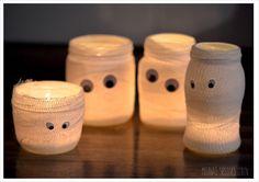 DIY Mumien-Windlichter (mullbinden und marmeladengläser)