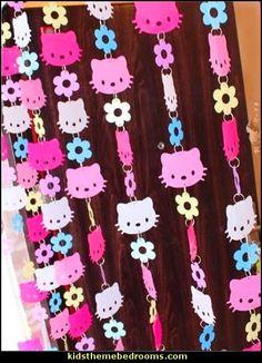 Hello Kitty Curtain, Pink Colorful Hello Kitty Head Door Curtain