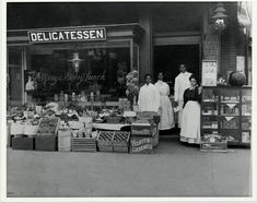 Family Business | 1904      The Underdown Family Delicatessen on the corner of 14th & S St. N.W. , Washington. DC, circa 1904. Mr. and Mrs. Underdown shown with two other employees. Addison Scurlock, photographer.