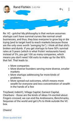 """Rand Fishkin on Twitter: """"Email I sent to a friend in the VC world today. Time to disrupt that ish.… """" My Philosophy, Location History, Marketing, Shit Happens, Business, Twitter, Store, Business Illustration"""