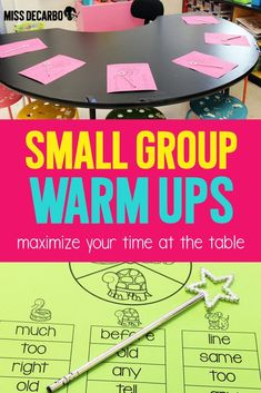 Small Group Warm Ups To Maximize Time at the Table – Miss DeCarbo Small Group Warm Ups To Maximize Time at the Table – Miss DeCarbo,Guided Reading Ugh! Small group time goes by SO. Guided Reading Organization, Guided Reading Activities, Guided Reading Groups, Kindergarten Reading, Teaching Reading, Classroom Activities, Classroom Decor, Reading Lessons, Small Group Organization