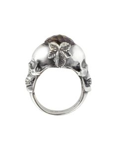 Ugo Cacciatori Sterling Silver and Smoky Quartz Double Skull Ring XS (USA 6.5 | UK M) at FORZIERI