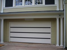 Modern Garage Doors Design | Contemporary Wood Garage Door Painted in Eggshell White with Charcoal ...