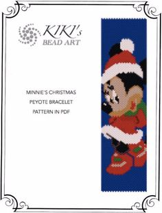 SALE Peyote pattern for bracelet - Minnie's Christmas peyote bracelet cuff PDF pattern - instant download