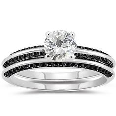 Amazon.com: 0.66 Cts Black Diamond & 1.01 Cts White Sapphire Engagement & Wedding Ring Set in 14K White Gold: Jewelry