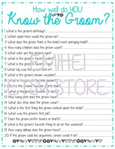 How Well Do You Know the Groom Bridal Shower Game by EmiHei, $1.50