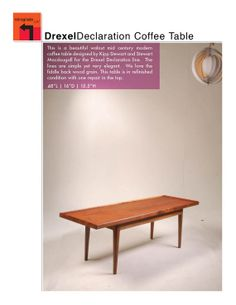 Mid Century Drexel Declaration Walnut Coffee Table by Kipp Stewart and Stewart Macdougall