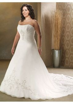 Tulle and Lace Sexy V-neck Empire waist A-Line Skirt with scalloped Semi Cathedral Train Plus Size Wedding Dress - bridaldressin.com
