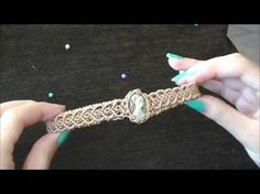 DIY Macrame chocker with stone/Mακραμέ κολιέ τσόκερ με πέτρα/Como hacer macrame chocker con piedra - YouTube