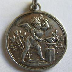 German Antique Silver Cherub Cupid Blacksmith Knock on Love Charm 2 Sided | eBay, $595.00