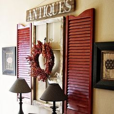antique window and shutters decor - Google Search