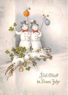 AK Ein gutes Neues Jahr Schneemänner mit Lampion Glucksblätter | eBay