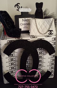 Chanel inspired centerpiece please visit us at www.creativecollectionbyshon.com