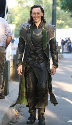 Avengers // Tom Hiddleston on set.