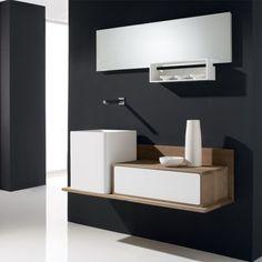 Mobilier suspendu pour salle de bains en bois massif équipé de 2