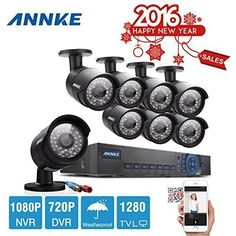 Annke New AHD 8CH 720P Security DVR Video Surveillance System 8 Weatherproof 720P Night Vision 100ft 36 IR LEDs Indoor/Outdoor AHD High Quality Security Camera P2P QR Code Scan Easy Remote Setup