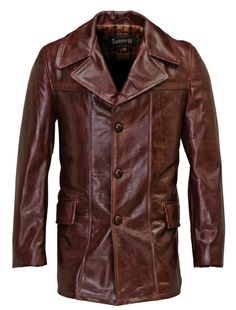 Lightweight Cowhide Fitted Retro Carcoat 645 from Schott NYC - wow, sweet color Mens Leather Coats, Men's Leather Jacket, Men's Coats And Jackets, Outerwear Jackets, Blazers, Dapper Suits, Big Men Fashion, Well Dressed Men, Leather Fashion