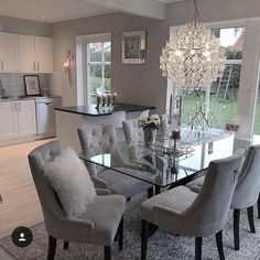chairs - 124 outstanding dining room table decor ideas page 8 Dining Room Table Decor, Elegant Dining Room, Luxury Dining Room, Dining Room Design, Living Room Decor, Grey Dinning Room, Dinning Room Ideas, Glass Dining Table, Dining Room Furniture