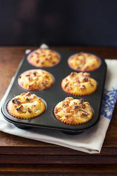 Wonderfully crunchy topped Rhubarb and Marzipan Muffins