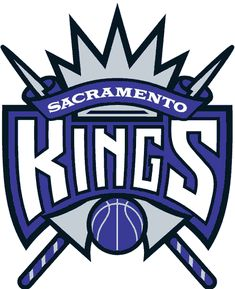 Sacramento Kings Primary Logo (1995) - Team name purple ribbons on silver crown and jousting sticks