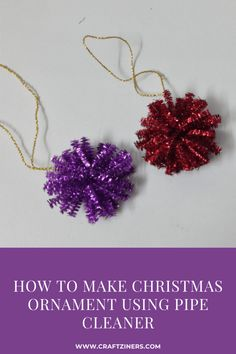 DIY Christmas Ornaments | Christmas Decoration Idea | Holiday Decor Ideas | Pipe Cleaner Ideas - Christmas Crafts Pipe Cleaners, Pipe Cleaner Crafts, Christmas Ornaments To Make, Christmas Earrings, Kids Christmas, Xmas, Diy For Kids, Crafts For Kids, Diy Crafts