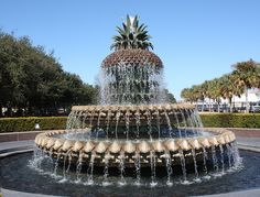 Pineapple Fountain in Waterfront Park in downtown Charleston, SC.