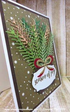 Pretty Pines Thinlits, Stampin' Up! Stamped Christmas Cards, Homemade Christmas Cards, Stampin Up Christmas, Christmas Cards To Make, Christmas Gift Tags, Xmas Cards, Homemade Cards, Holiday Cards, Christmas Crafts