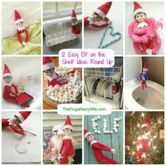 12 Easy Elf on the Shelf Ideas Round Up #elfontheshelf #elfshelf #christmas