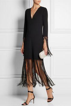 MICHAEL KORS Fringed stretch-wool crepe dress | net-a-porter.com