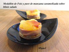 Ingredientes para 12 unidades:   1 flauta de foie micuit    2 Manzanas tipo Golden, zumo de limón, 2 cucharadas soperas de agua y 1 cuch...