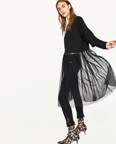 Image 3 of SWEATER WITH TULLE from Zara