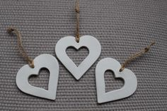 Set of 3 x White clay ornaments garland gift tag by ZoneInDesign, $12.00