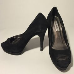 "Steve Madden Peep-toe Heel Black Suede Steve Madden stacked-heel peep toe. Great for nights out!  1"" platform toe. Good condition. Steve Madden Shoes Heels"