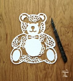 3 x Teddy Bear Designs Papercutting by TommyandTillyDesign