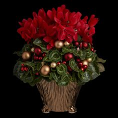 Red Cyclamen Planter — Neill Strain Floral Couture London Christmas Planters, Christmas Flowers, Christmas Wreaths, Christmas Tree, Winter Planter, Seasons, London, Holidays, Couture