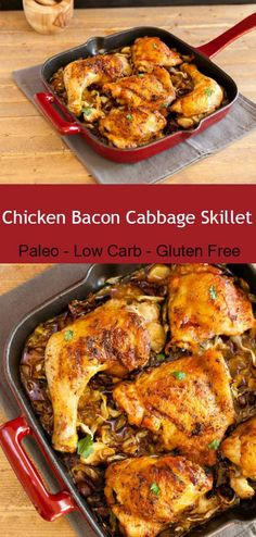 Chicken Bacon Cabbage Skillet- Super tasty and easy to make paleo and low carb chicken dish.