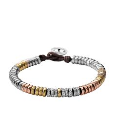 Fossil: Mixed Metal Wrist Wrap $29.99 Stand out this season with our Mixed Metal wrist wrap. A stunning combination of shiny silver-tone, rose, and gold-tone beads make this a must-have piece.