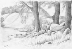 Landscape Drawings in Pencil | Pencil drawing of a landscape with megalithic grave - by Martin ...