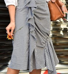 Street Style | So in love with this textured black and white ruffled skirt spotted at NYFW.