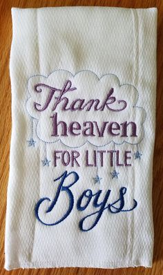 Embroidered Burp Cloth - Thank Heaven for Little Boys - Newborn Gift - Baby Boy Gift - Cloth Diaper - Baby Shower Gift - Baby Decoration - Baby - Newborn Baby Boy Gifts, Baby Shower Gifts For Boys, Baby Boy Shower, Baby Gifts, Diy Baby, Baby Showers, Prefold Cloth Diapers, Baby Burp Cloths, Baby Shower Diapers