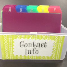 Parent contact... Have students write contact info on a notecard at the beginning of the year, put in alphabetical order in a card box and keep near the phone. The extra room on the notecard is for notes about parent contact!