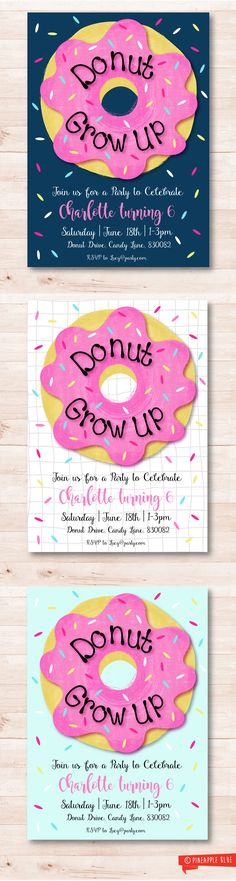 Donut party invitation | Kids birthday invitation | Donut grow up invitation | Birthday Invitation | Donut Party | Kids birthday invitation