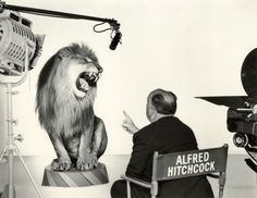 Alfred Hitchcock with the MGM Lion, 1958