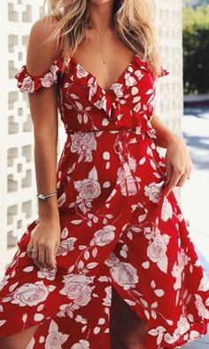 I can't wait till this winter is over so I can rock this beautiful red floral wrap dress. She looks stunning