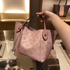 Louis Vuitton Mahina Perforated Calf Leather Hina PM Bag Magnolia   lv hina  OMG the pink is gorgeous 42dd61be9d1